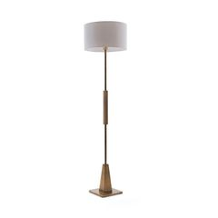 Floor Lamp in Minimalist Brass & Drum Shade