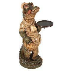 Crocodile Butler Statue Alligator Chef