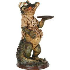 Crocodile Statue Butler Large Chef Alligator