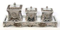 Decorative Box Set of 3 with Tray Metal
