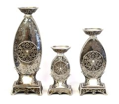 Candle Holder Set of 3 Rosettes Metal