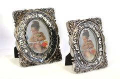 Photo Frame Set of 2 Vintage Mirror Metal