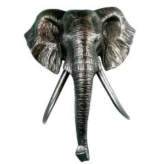 Elephant Head Wall Decor Metallic Sculpture