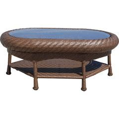 Outdoor Coffee Table Oval Blue Woven