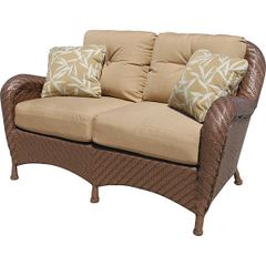 Outdoor Loveseat Woven with Tan Upholstery