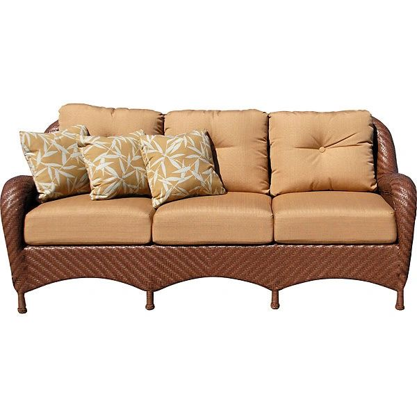 Outdoor Sofa Woven with Tan Upholstery