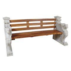 Outdoor Bench Gothic Garden Stone & Wood