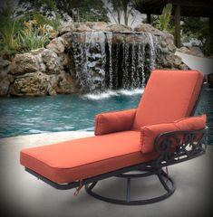 Outdoor Lounge Chair Swivel Blood Orange