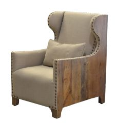 Chadwick Armchair Linen and Wood Wingback