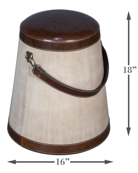 Leather and Linen Bucket Stool Equestrain Restoration Style