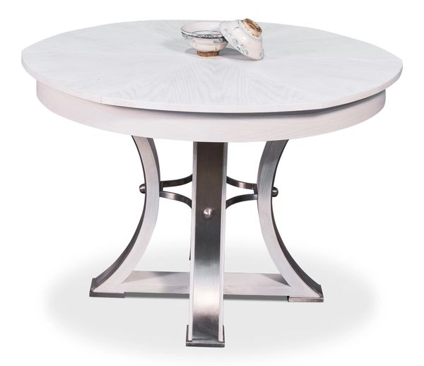White Jupe Dining Table Oak Iron New Traditional