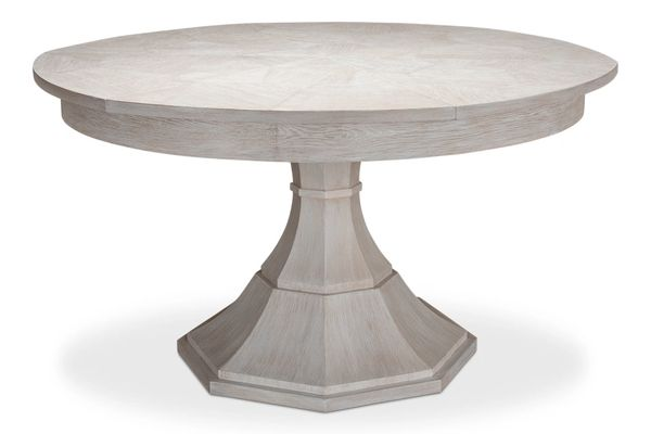Giselle Whitewash White Jupe Dining Table New Traditional