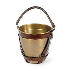 Equstrian Champagne Bucket Party Party Vueve Time Leather Antique Brass