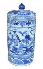 Blue and White Lidded Urn Traditional Hand Painted