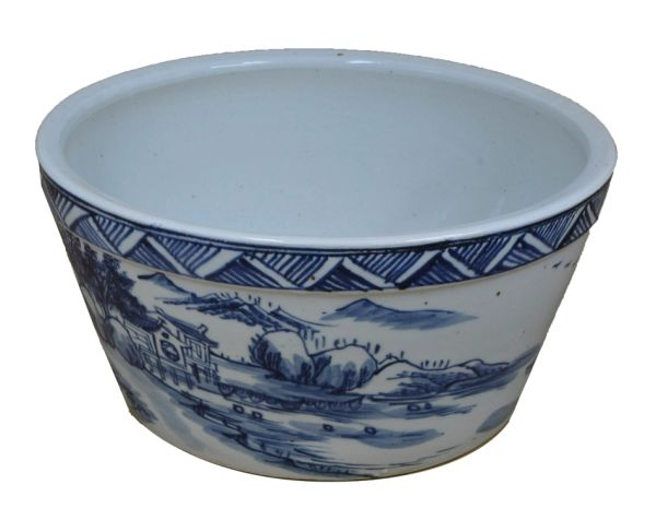 View of River Hand Painted Blue and White Porcelain Bowl