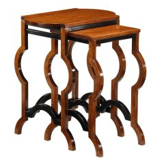 Nesting Tables Made in Italy Hand Painted Walnut Finish Set of 2