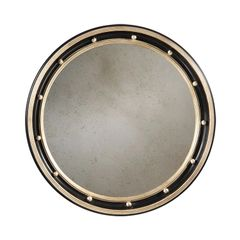 Empire Style Carved Wood Mirror Antiqued Black Finish Silver Leaf Round