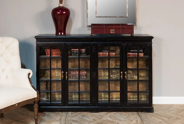 Solid Walnut Antique Black Bookcase Glass Doors Antique Brass