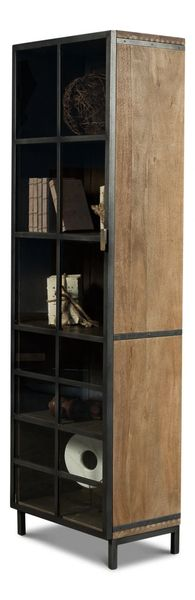 Resoration Style Display Cabinet Case Glass Steel Brass Left