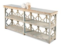 Quatrefoil Bookshelf Console Table Grey Transitional