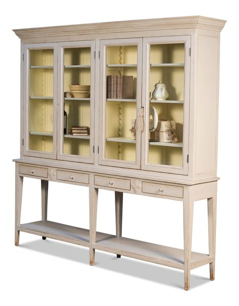 Harborside Bookcase Solid Pine Window Panes Beige Transitional