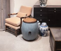 Blue Storm Drum Side Table Wood and Leather