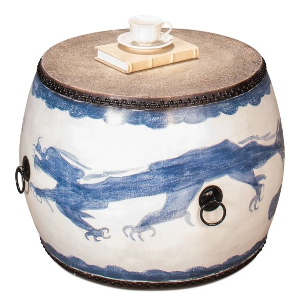 Blue Dragon Leather and wood Drum Side Table