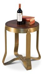 Wood and Iron Side Table New Traditional Satiny Brass