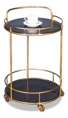 Iron and Leather Server Side Table on Casters Gold and Black