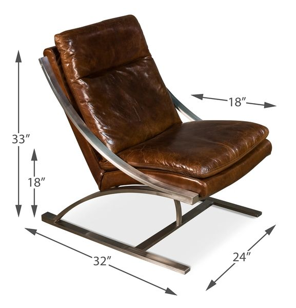 Vintage Cigar Leather Chair Mid-Century Modern Brushed Steel