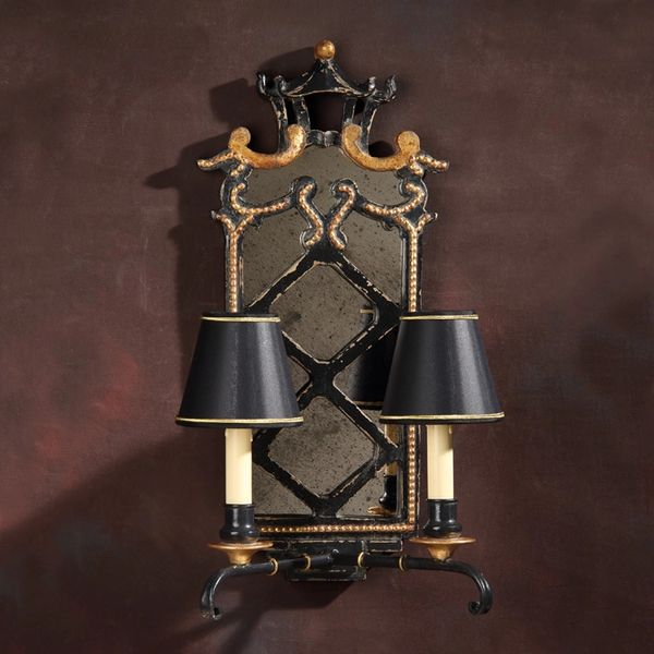 Pagoda Sconce 2 Light Antique Black Finish Gold Accents