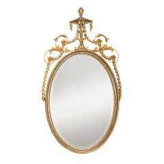 Adam Style Carved Wood Oval Mirror Gold and Silver Leaf Made in Italy