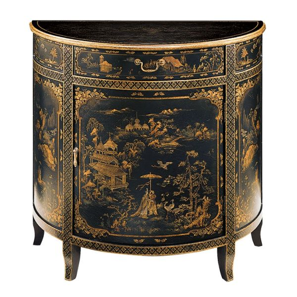 Hand-painted half-round cabinet with Chinoiserie Antiqued Brass Hardware