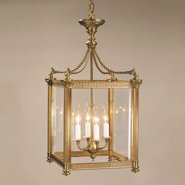 Square Antiqued Brass Lantern Beveled Glass