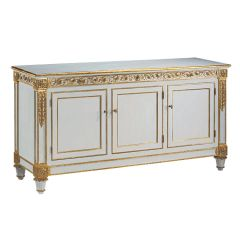 Credenza Handcrafted in Italy Pale Blue New Transitional Gold Leaf