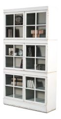 White Isabella Bookcase Reclaimed Pine Glass Fronts