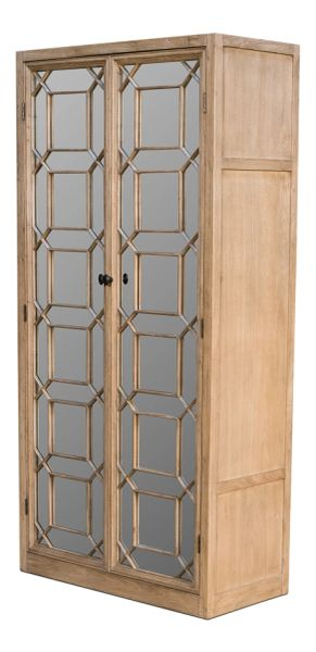 Fretwork Cupboard Cabinet Elm Glass Doors Adjustable Shelves