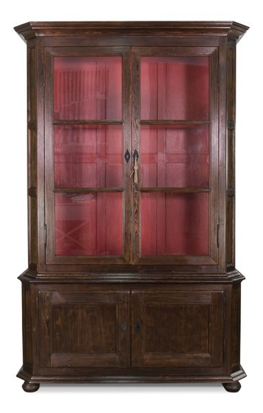 Belgium Bookcase Reclaimed Pine Glass Doors Farmhouse Brown/Red Int