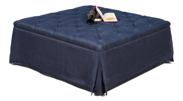 Large Skirted Blue Ottoman Tufted Coffee Table Linen
