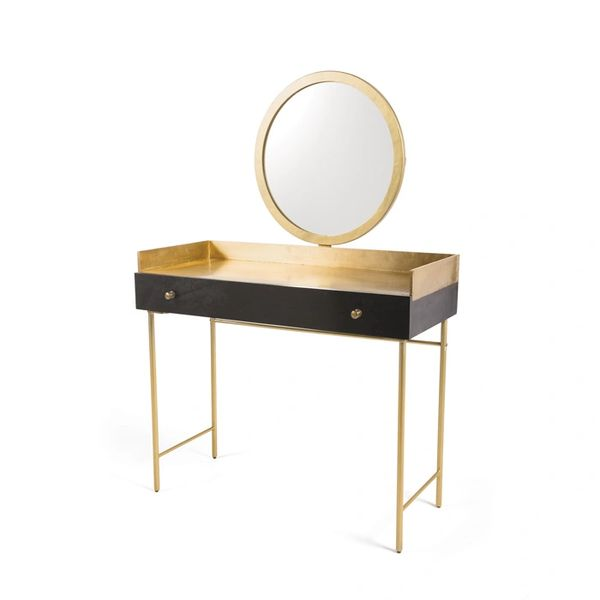 Black and Gold Vanity Hollywood Style Brass Wood Iron with Mirror