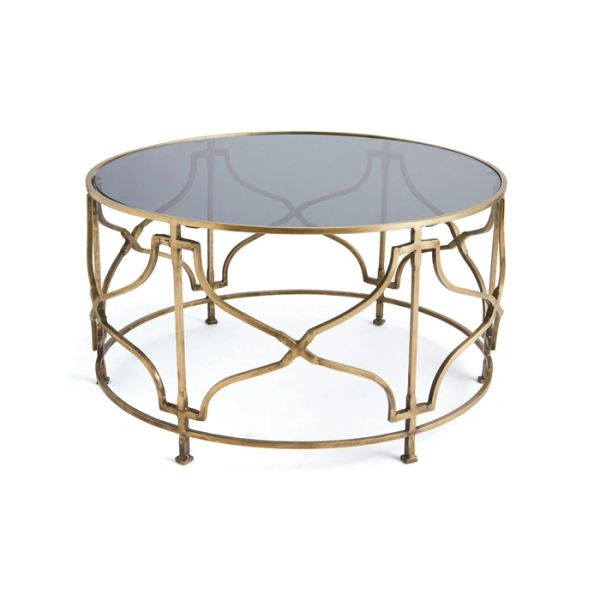 Antique Brass and Glass Top Coffee Table
