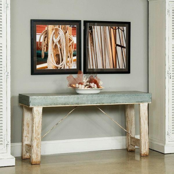 Zinc Console Table w/ Reclaimed Elm Wood