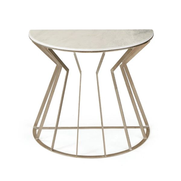 Art Deco Metal and Marble Console Table Side Table