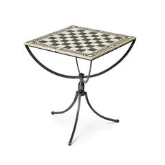 Chess Table Bone Inlay Iron and Nickel