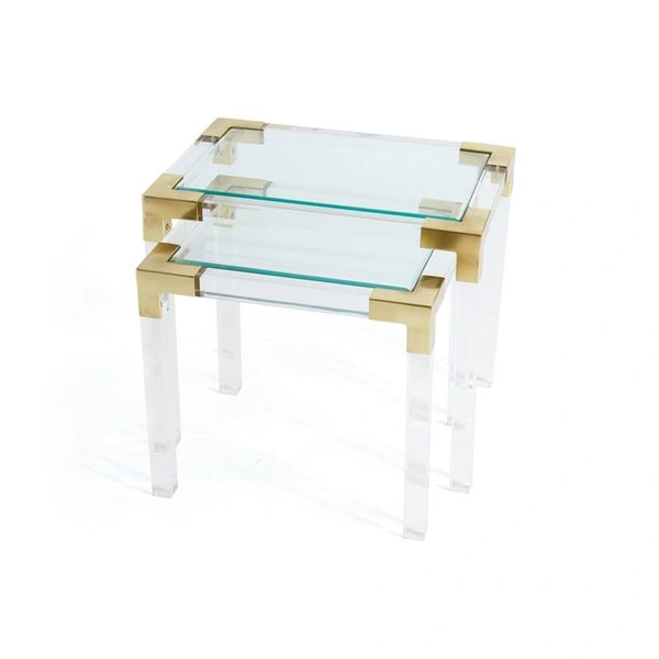 Acrylic and Brass Side Tables Set of 2 Nesting Glass Tops