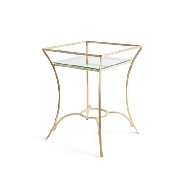 Antiqued Gold Iron and Glass Side Table