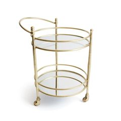 Brushed Brass Finish Rolling Bar Cart Mirrored
