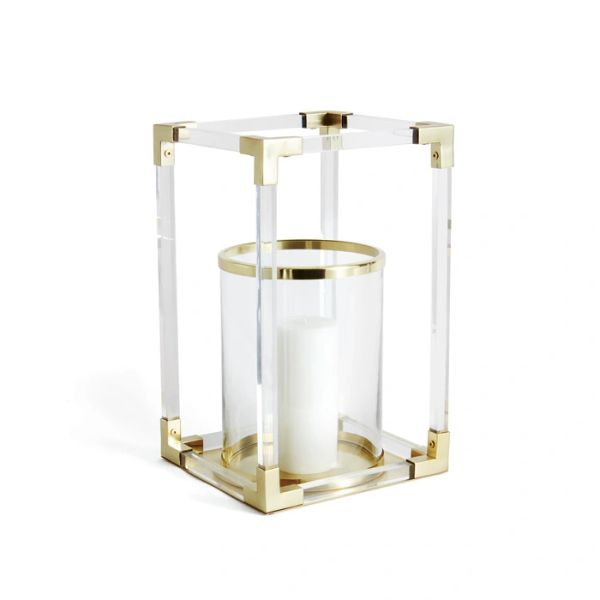 Hollywood Art Deco Brass Glass Lantern