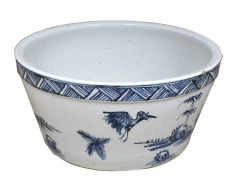 "Blue and White Bird Porcelain Water Bowl 16"" D Handpainted"