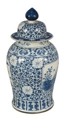 "Blue and White Porcelain Vase with Lid 31""H Large Traditional"